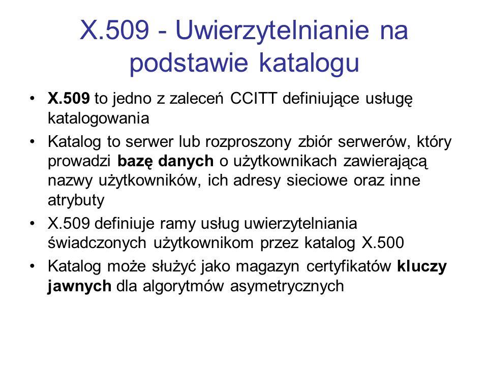 X.509 - Uwierzytelnianie na podstawie katalogu X.509 to jedno z zaleceń CCITT definiujące usługę katalogowania Katalog to serwer lub rozproszony zbiór