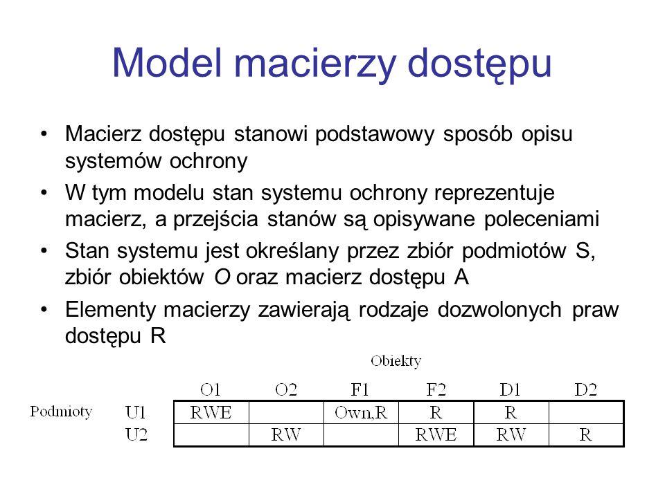 Model macierzy dostępu Macierz dostępu stanowi podstawowy sposób opisu systemów ochrony W tym modelu stan systemu ochrony reprezentuje macierz, a prze