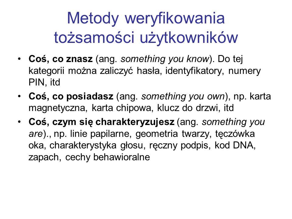 Metody weryfikowania tożsamości użytkowników Coś, co znasz (ang. something you know). Do tej kategorii można zaliczyć hasła, identyfikatory, numery PI