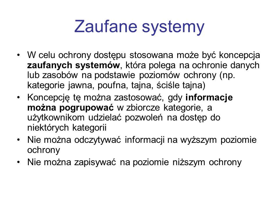 Zaufane systemy W celu ochrony dostępu stosowana może być koncepcja zaufanych systemów, która polega na ochronie danych lub zasobów na podstawie pozio