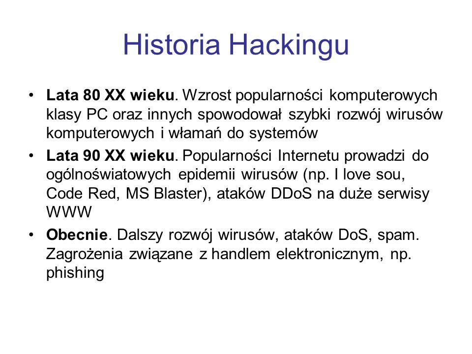 Historia Hackingu Lata 80 XX wieku. Wzrost popularności komputerowych klasy PC oraz innych spowodował szybki rozwój wirusów komputerowych i włamań do