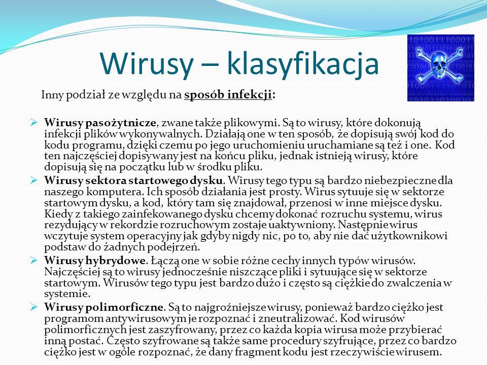 Wirusy – klasyfikacja Inny podział ze względu na sposób infekcji: Wirusy pasożytnicze, zwane także plikowymi.