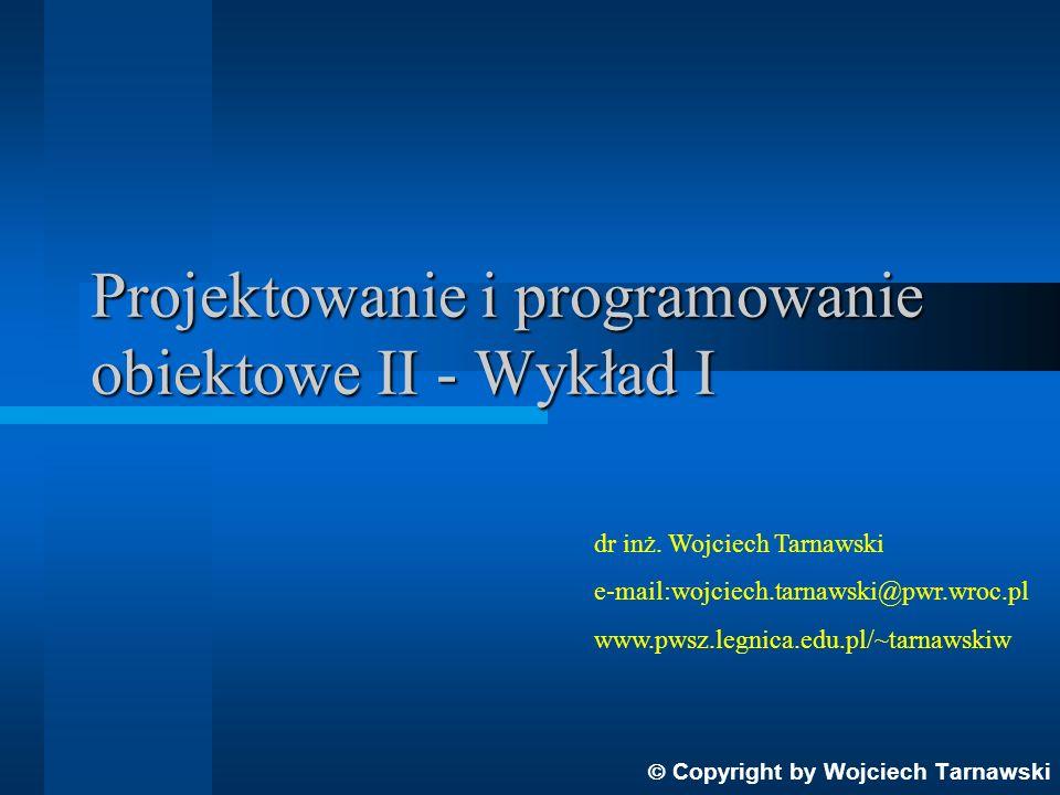Podział obiektów ze względu na ich związki operatorowe z innymi obiektami w systemie obiektowo zorientowanym: Aktorzy - obiekty, które dokonują operacji na innych obiektach, ale nigdy nie podlegają operacjom ze strony innych obiektów Serwery - obiekty podlegające operacjom ze strony innych obiektów i nie operujące na innych obiektach Agenci - obiekty, które operują na innych obiektach i mogą być przedmiotem operacji ze strony innych obiektów Copyright by Wojciech Tarnawski Inne uwagi: klasa może mieć dowolną liczbę atrybutów, a nawet nie mieć ich wcale symbol klasy nie musi zawierać wszystkich atrybutów i operacji, jeśli jest ich wiele (wtedy w odpowiedniej sekcji na końcu umieszczamy wielokropek