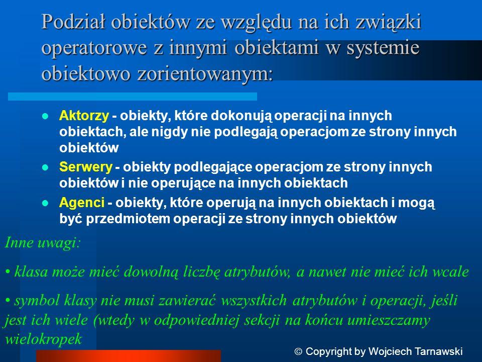 Podział obiektów ze względu na ich związki operatorowe z innymi obiektami w systemie obiektowo zorientowanym: Aktorzy - obiekty, które dokonują operac