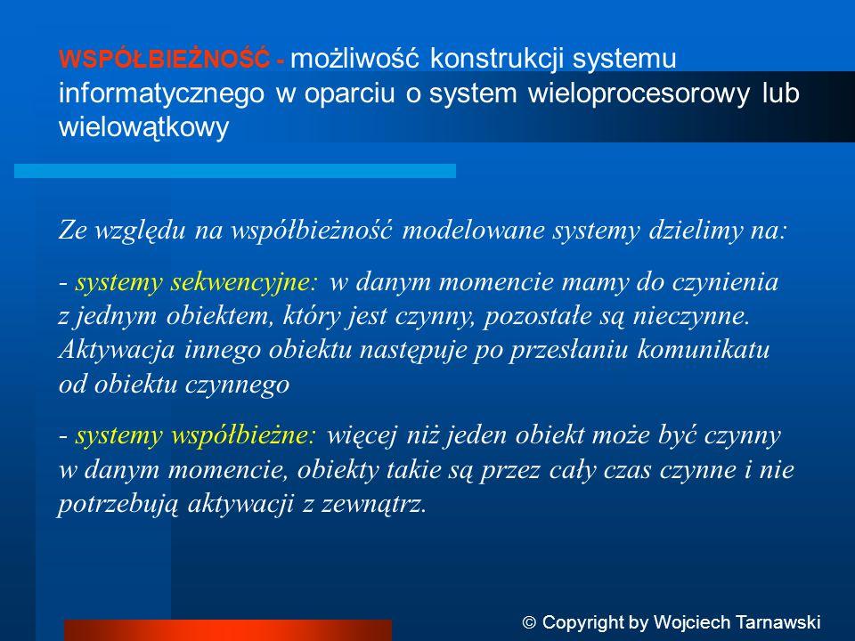 WSPÓŁBIEŻNOŚĆ - możliwość konstrukcji systemu informatycznego w oparciu o system wieloprocesorowy lub wielowątkowy Ze względu na współbieżność modelow