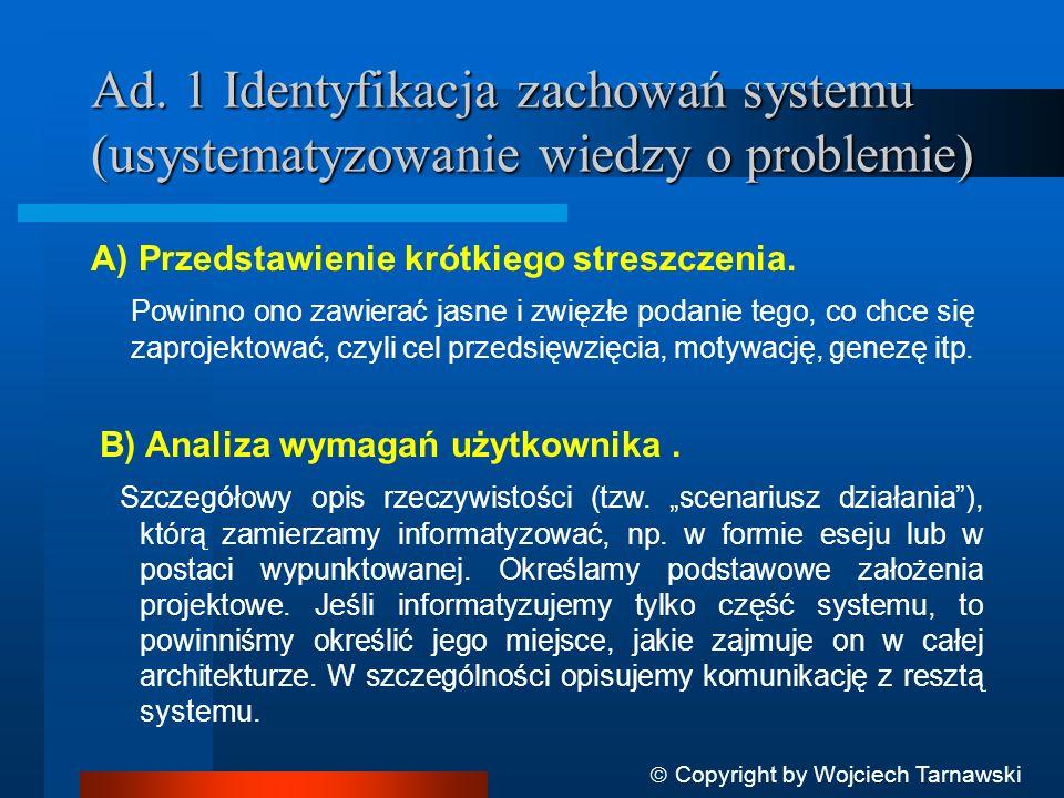 Ad. 1 Identyfikacja zachowań systemu (usystematyzowanie wiedzy o problemie) A) Przedstawienie krótkiego streszczenia. Powinno ono zawierać jasne i zwi
