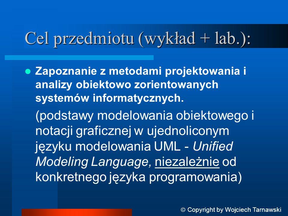 Cel przedmiotu (wykład + lab.): Zapoznanie z metodami projektowania i analizy obiektowo zorientowanych systemów informatycznych. (podstawy modelowania