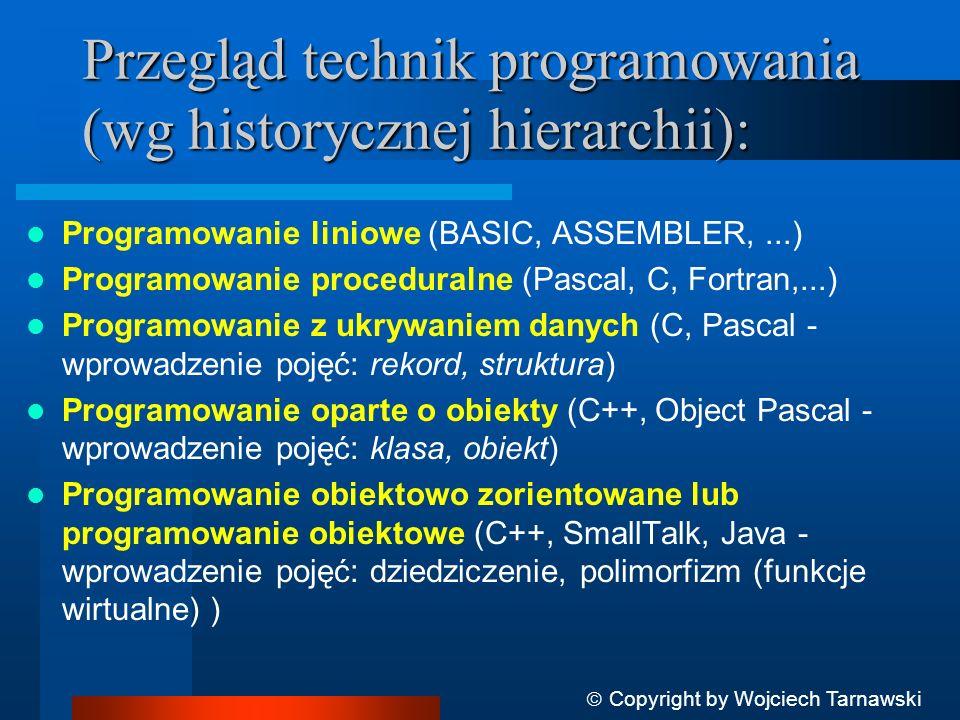 Podstawowe koncepcje i pojęcia programowania obiektowego Copyright by Wojciech Tarnawski ABSTRAKCJA - zasada ignorowania tych aspektów przedmiotu, które nie są istotne z punktu widzenia bieżącego problemu, by móc pełniej skoncentrować się na właściwych.