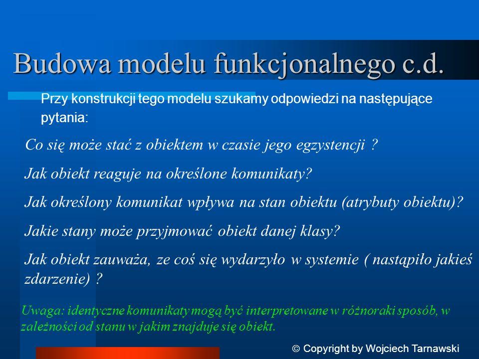 Przy konstrukcji tego modelu szukamy odpowiedzi na następujące pytania: Budowa modelu funkcjonalnego c.d. Co się może stać z obiektem w czasie jego eg