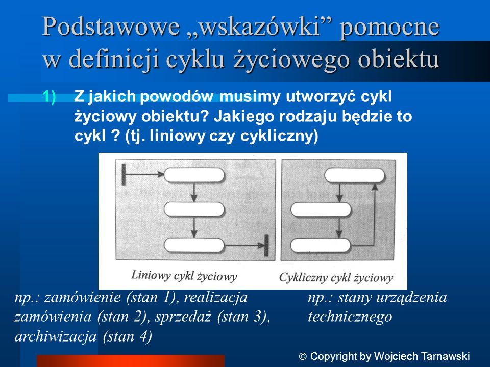 Podstawowe wskazówki pomocne w definicji cyklu życiowego obiektu 1)Z jakich powodów musimy utworzyć cykl życiowy obiektu? Jakiego rodzaju będzie to cy