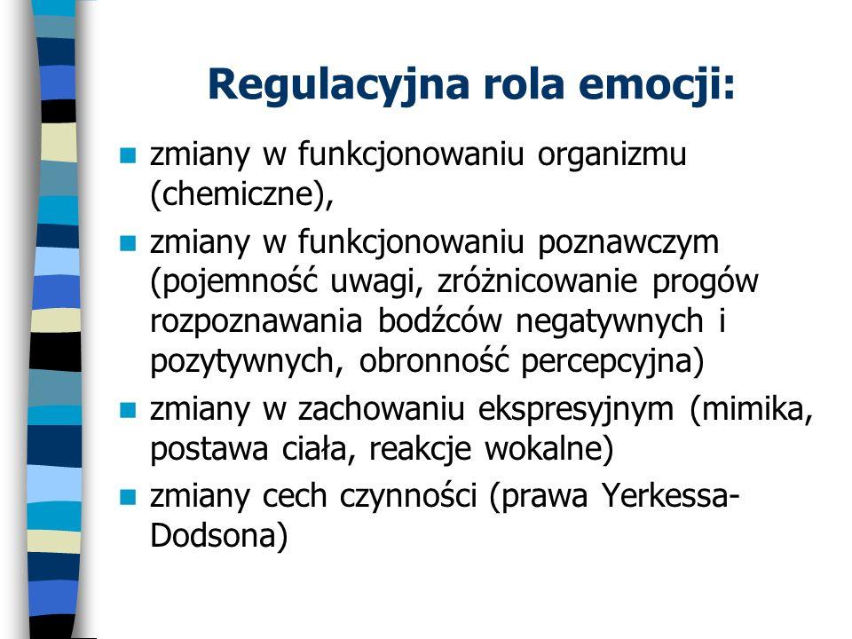 Regulacyjna rola emocji: zmiany w funkcjonowaniu organizmu (chemiczne), zmiany w funkcjonowaniu poznawczym (pojemność uwagi, zróżnicowanie progów rozp