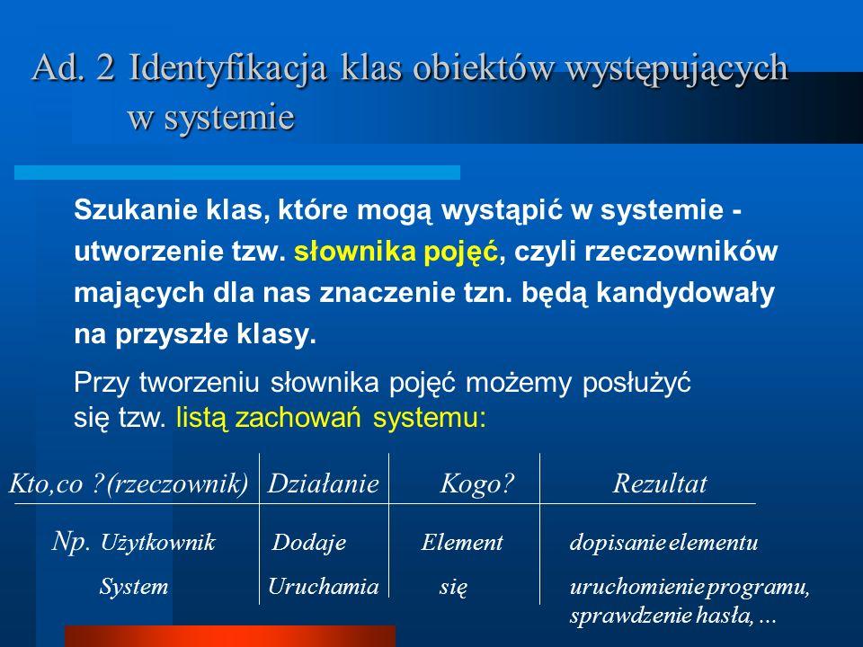 Ad. 2 Identyfikacja klas obiektów występujących w systemie Szukanie klas, które mogą wystąpić w systemie - utworzenie tzw. słownika pojęć, czyli rzecz