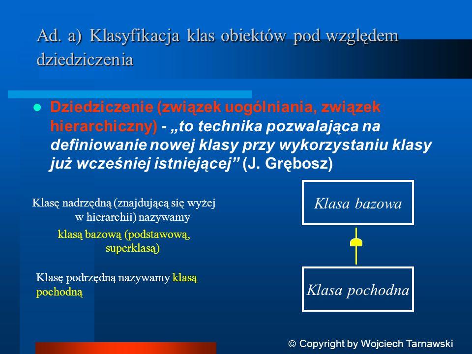 Klasyfikacja obiektów pod względem dziedziczenia to klasyfikacja będąca rezultatem analizy ze względu na: I semantykę problemu II wtórne użycie obiektów Copyright by Wojciech Tarnawski Ad I)...analiza semantyk (z etapu I):..jest szczególnym rodzajem...
