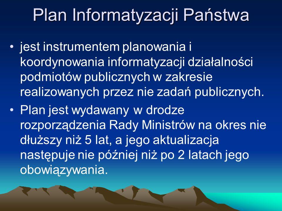 Plan Informatyzacji Państwa jest instrumentem planowania i koordynowania informatyzacji działalności podmiotów publicznych w zakresie realizowanych pr