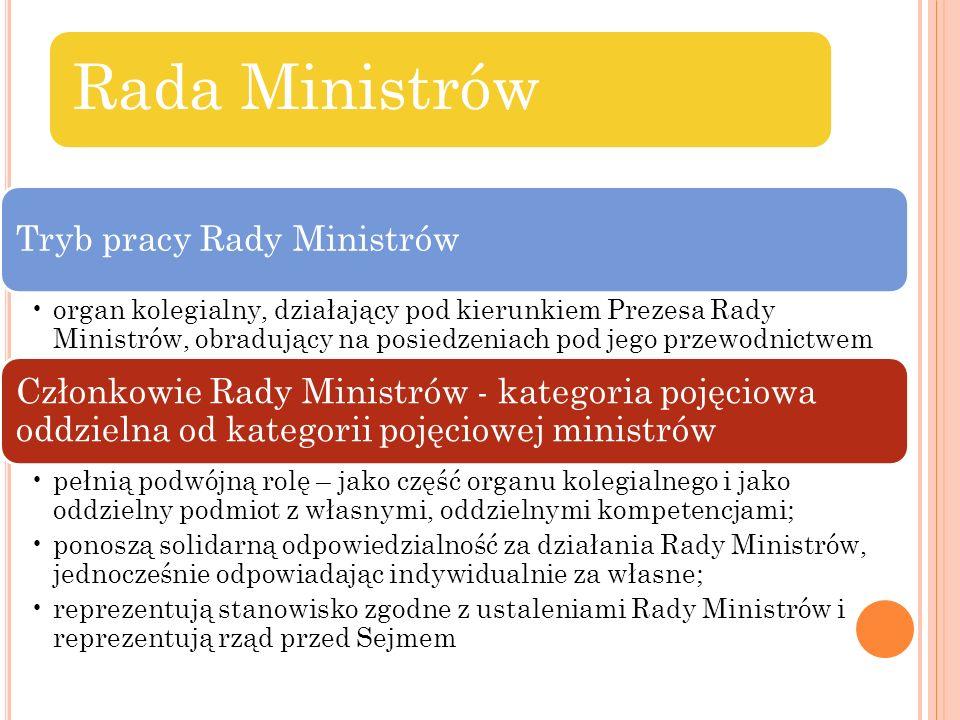 Rada Ministrów Tryb pracy Rady Ministrów organ kolegialny, działający pod kierunkiem Prezesa Rady Ministrów, obradujący na posiedzeniach pod jego prze