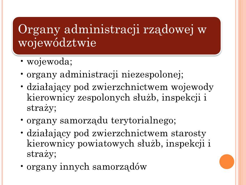 Organy administracji rządowej w województwie wojewoda; organy administracji niezespolonej; działający pod zwierzchnictwem wojewody kierownicy zespolon