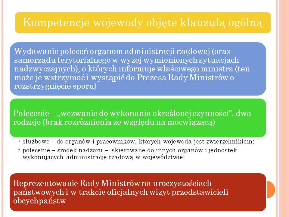 Kompetencje wojewody objęte klauzulą ogólną Wydawanie poleceń organom administracji rządowej (oraz samorządu terytorialnego w wyżej wymienionych sytua