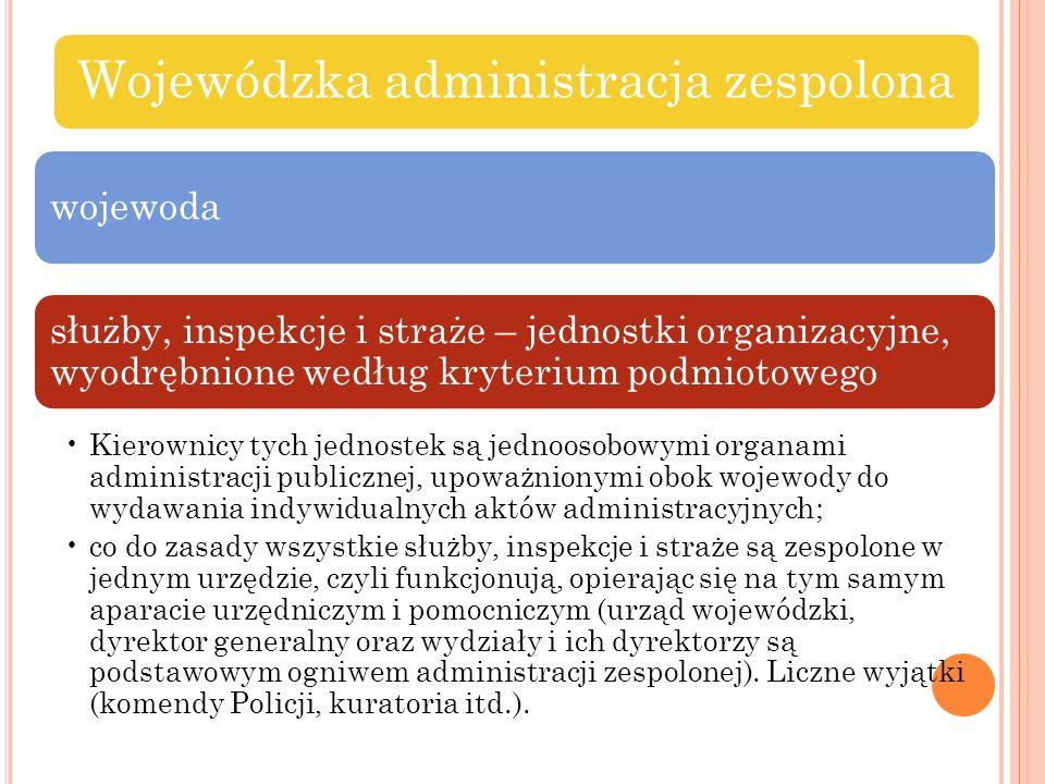 Wojewódzka administracja zespolona wojewoda służby, inspekcje i straże – jednostki organizacyjne, wyodrębnione według kryterium podmiotowego Kierownic