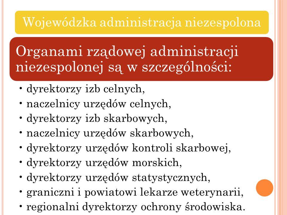 Wojewódzka administracja niezespolona Organami rządowej administracji niezespolonej są w szczególności: dyrektorzy izb celnych, naczelnicy urzędów cel