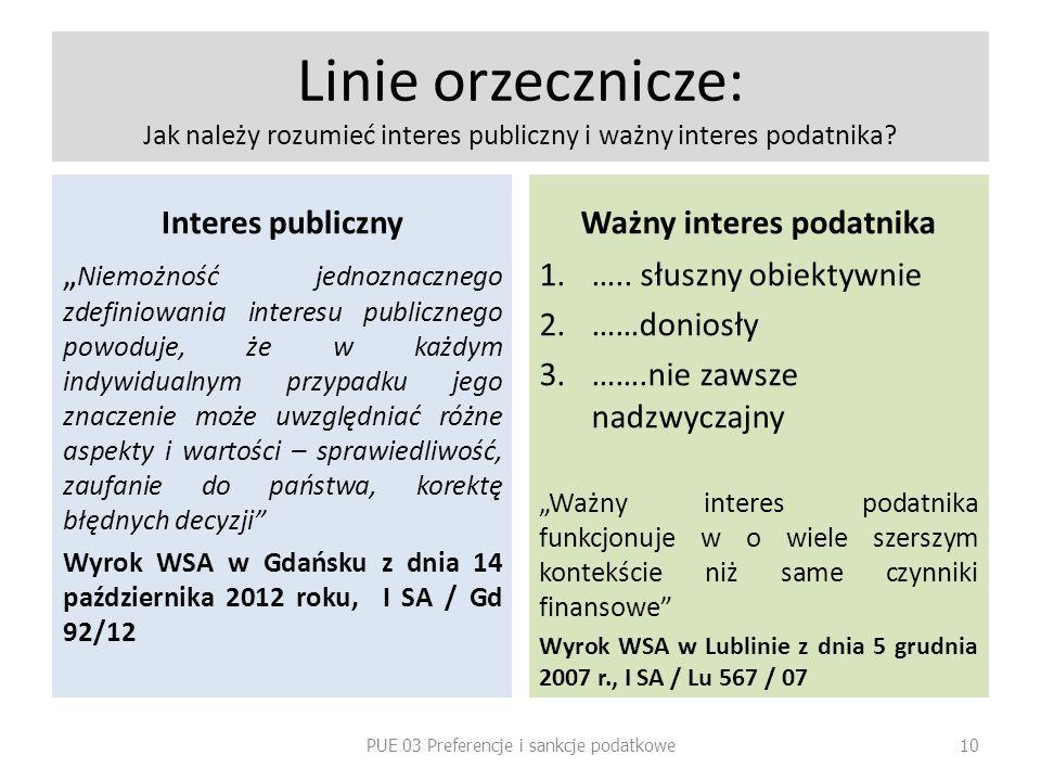 Linie orzecznicze: Jak należy rozumieć interes publiczny i ważny interes podatnika? Interes publiczny Niemożność jednoznacznego zdefiniowania interesu