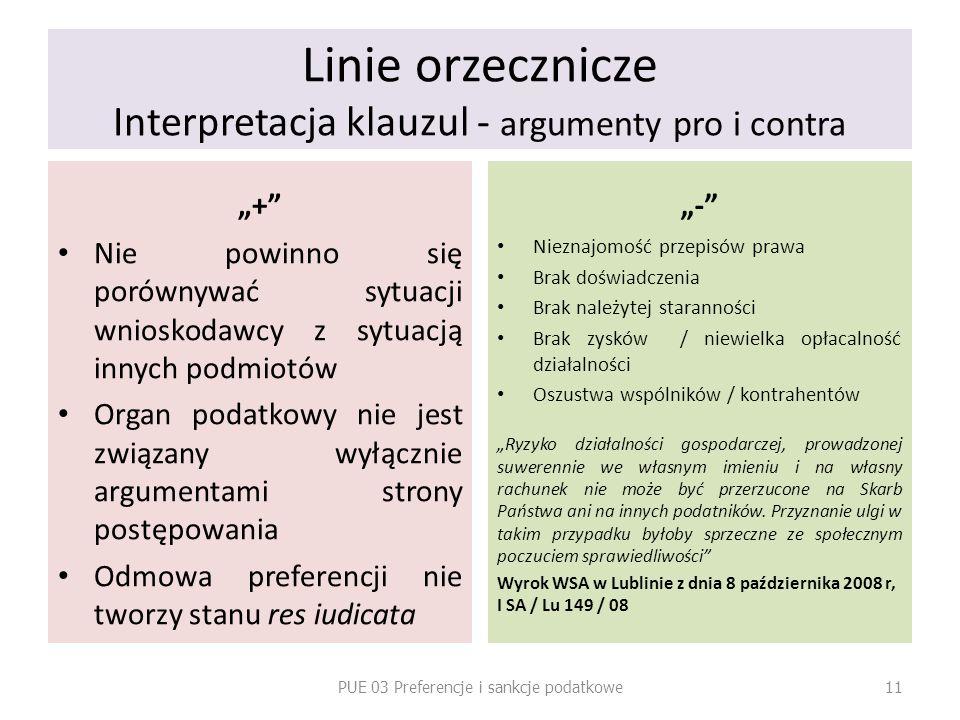 Linie orzecznicze Interpretacja klauzul - argumenty pro i contra + Nie powinno się porównywać sytuacji wnioskodawcy z sytuacją innych podmiotów Organ