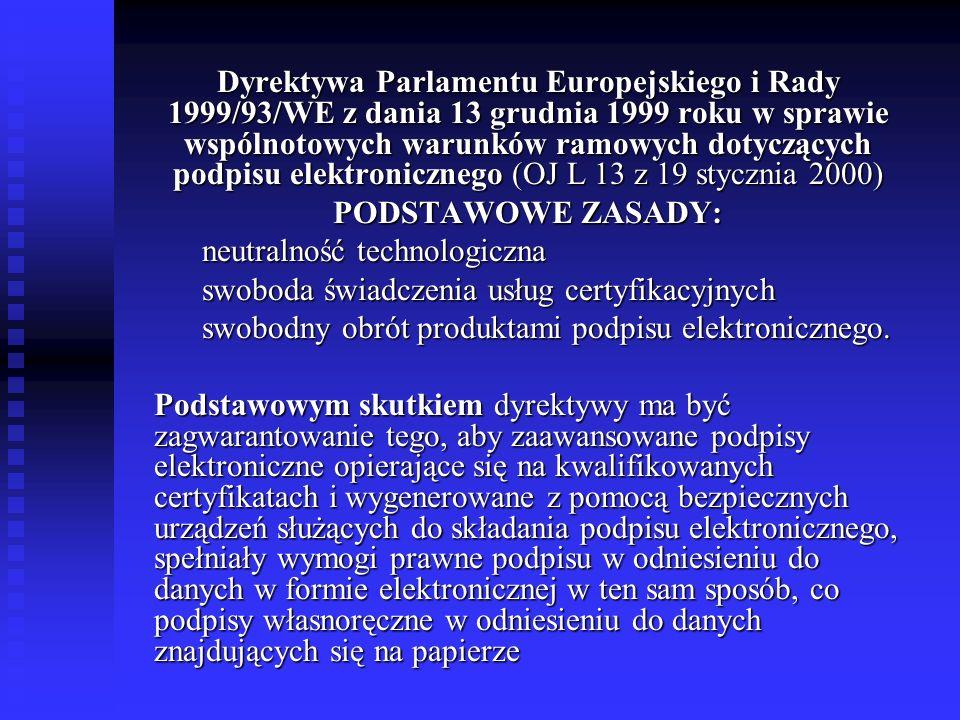 Dyrektywa Parlamentu Europejskiego i Rady 1999/93/WE z dania 13 grudnia 1999 roku w sprawie wspólnotowych warunków ramowych dotyczących podpisu elektr