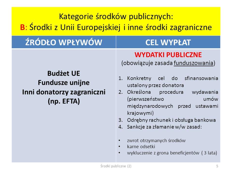 Katalog zasad gospodarowania środkami publicznymi Praworządna gospodarka finansowa NFP 42/1 gromadzenie środków ze ściśle określonych ustawami tytułów NFP 43 równy dostęp do realizacji zadań finansowanych ze środków publicznych NFP 47 wybór najkorzystniejszej oferty Właściwe planowanie budżetowe NFP 42/2 niefunduszowanie ( = jedność materialna, = wspólny kocioł) NFP 51nieroszczeniowość NFP 52 jednostronna dyrektywność Racjonalne wydawanie środków publicznych NFP 44 celowość, terminowość, oszczędność NFP 46, 48 – 50, 112 A przykłady racjonalizacji wydatków publicznych Środki publiczne (2)16