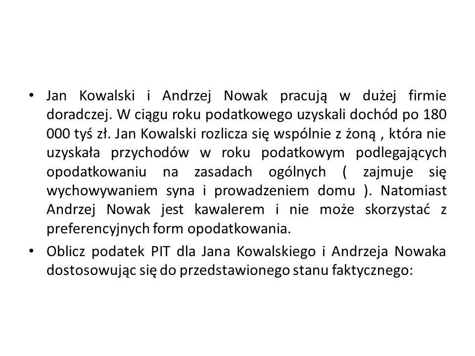 Jan Kowalski i Andrzej Nowak pracują w dużej firmie doradczej. W ciągu roku podatkowego uzyskali dochód po 180 000 tyś zł. Jan Kowalski rozlicza się w