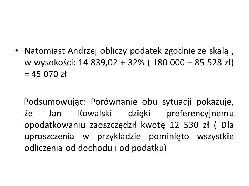 Natomiast Andrzej obliczy podatek zgodnie ze skalą, w wysokości: 14 839,02 + 32% ( 180 000 – 85 528 zł) = 45 070 zł Podsumowując: Porównanie obu sytua