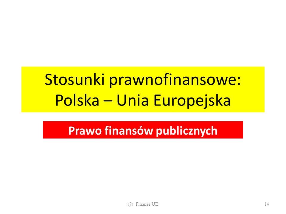 Stosunki prawnofinansowe: Polska – Unia Europejska Prawo finansów publicznych (7) Finanse UE14