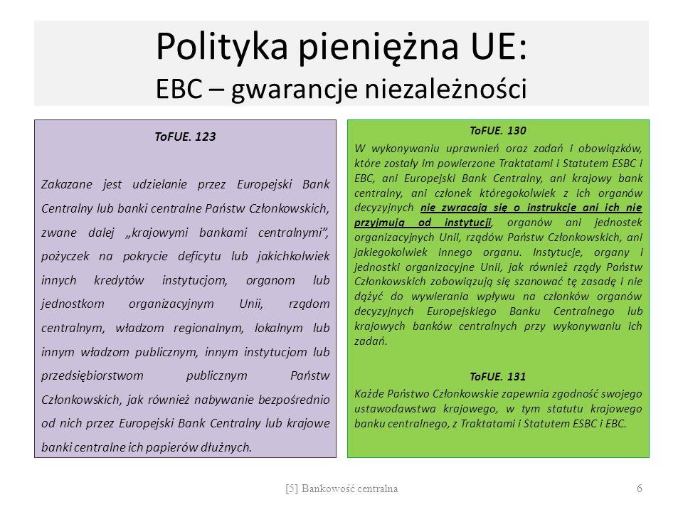 Polityka pieniężna UE: EBC – gwarancje niezależności ToFUE. 123 Zakazane jest udzielanie przez Europejski Bank Centralny lub banki centralne Państw Cz