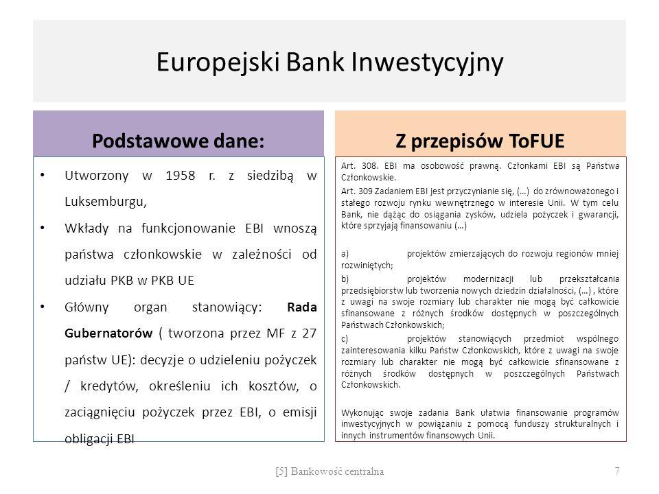 Europejski Bank Inwestycyjny Podstawowe dane: Utworzony w 1958 r. z siedzibą w Luksemburgu, Wkłady na funkcjonowanie EBI wnoszą państwa członkowskie w