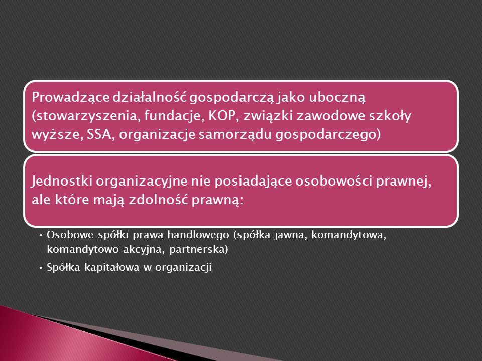Jednoosobowa działalność osoby fizycznej Pełna zdolność do czynności prawnych w rozumieniu KC (art. 11) Osoby prawne: podmiot, który nabył osobowość p