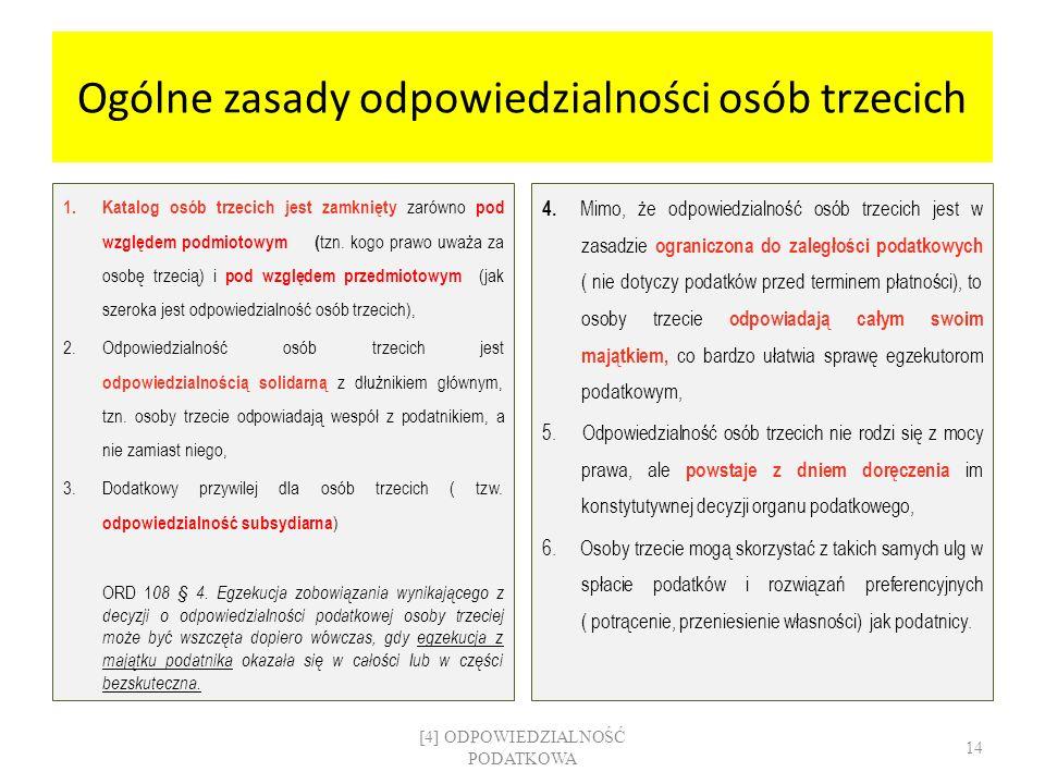 Ogólne zasady odpowiedzialności osób trzecich 1. Katalog osób trzecich jest zamknięty zarówno pod względem podmiotowym ( tzn. kogo prawo uważa za osob