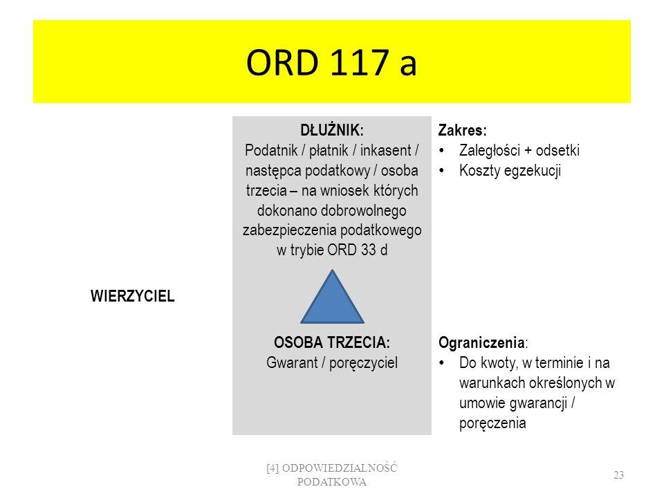 ORD 117 a DŁUŻNIK: Podatnik / płatnik / inkasent / następca podatkowy / osoba trzecia – na wniosek których dokonano dobrowolnego zabezpieczenia podatk