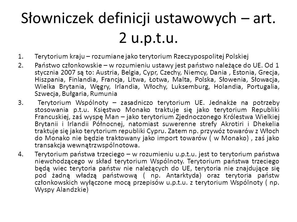 Słowniczek definicji ustawowych – art. 2 u.p.t.u. 1.Terytorium kraju – rozumiane jako terytorium Rzeczypospolitej Polskiej 2.Państwo członkowskie – w