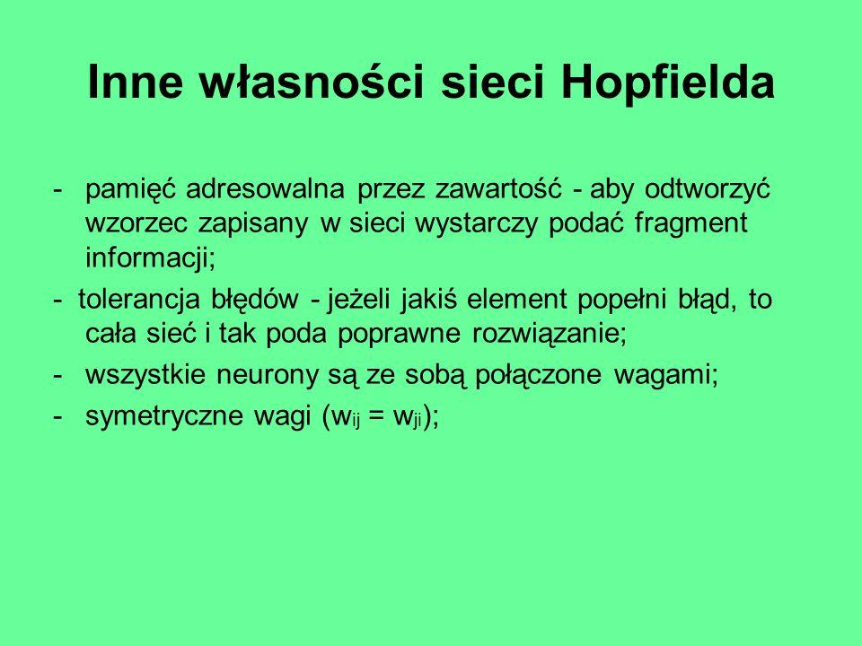 Algorytm działania sieci Hopfielda 1.Wybieramy losowo neuron.