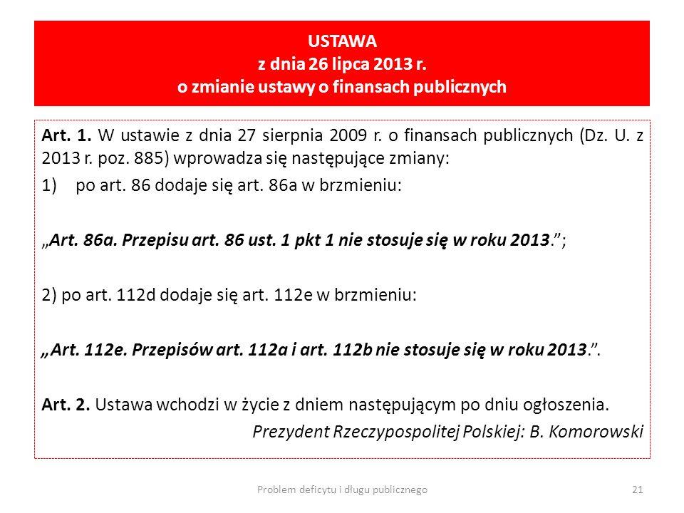 USTAWA z dnia 26 lipca 2013 r. o zmianie ustawy o finansach publicznych Art. 1. W ustawie z dnia 27 sierpnia 2009 r. o finansach publicznych (Dz. U. z