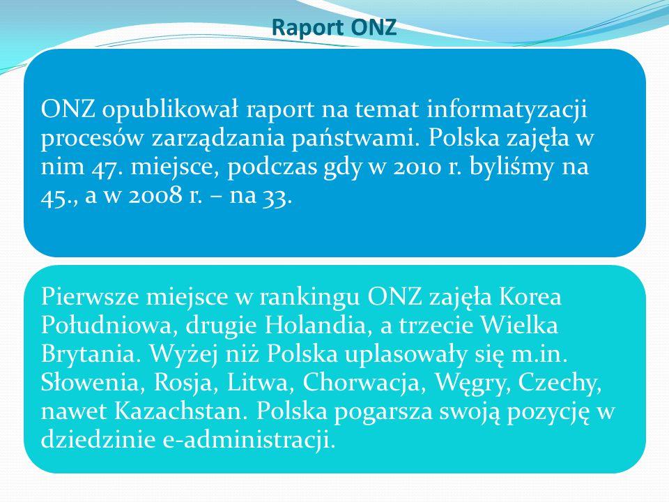 Raport ONZ ONZ opublikował raport na temat informatyzacji procesów zarządzania państwami. Polska zajęła w nim 47. miejsce, podczas gdy w 2010 r. byliś