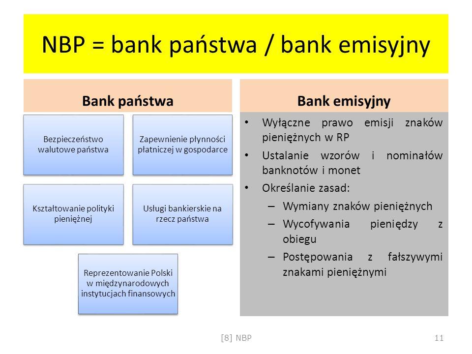 NBP = bank państwa / bank emisyjny Bank państwa Bezpieczeństwo walutowe państwa Zapewnienie płynności płatniczej w gospodarce Kształtowanie polityki p