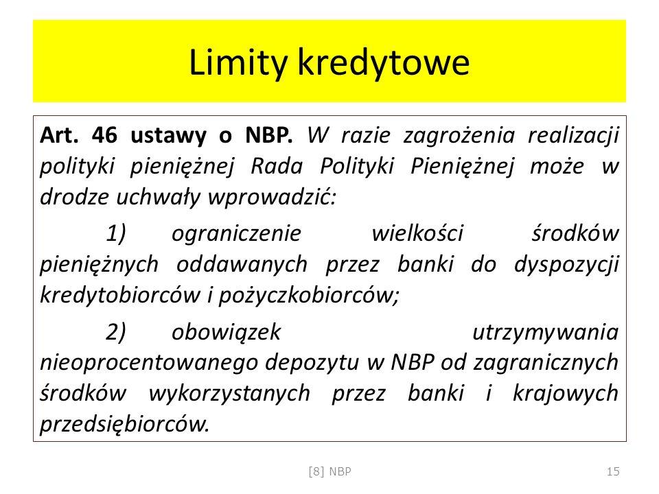 Limity kredytowe Art. 46 ustawy o NBP. W razie zagrożenia realizacji polityki pieniężnej Rada Polityki Pieniężnej może w drodze uchwały wprowadzić: 1)