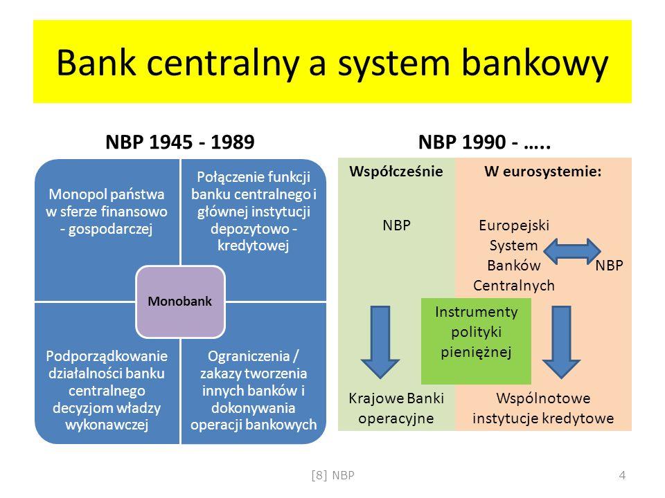 Bank centralny a system bankowy NBP 1945 - 1989 Monopol państwa w sferze finansowo - gospodarczej Połączenie funkcji banku centralnego i głównej instytucji depozytowo - kredytowej Podporządkowanie działalności banku centralnego decyzjom władzy wykonawczej Ograniczenia / zakazy tworzenia innych banków i dokonywania operacji bankowych Monobank NBP 1990 - …..