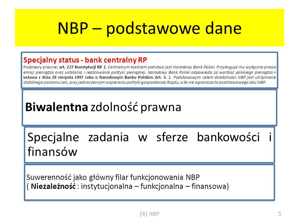 NBP – podstawowe dane Specjalny status - bank centralny RP Podstawy prawne: art. 227 Konstytucji RP 1. Centralnym bankiem państwa jest Narodowy Bank P