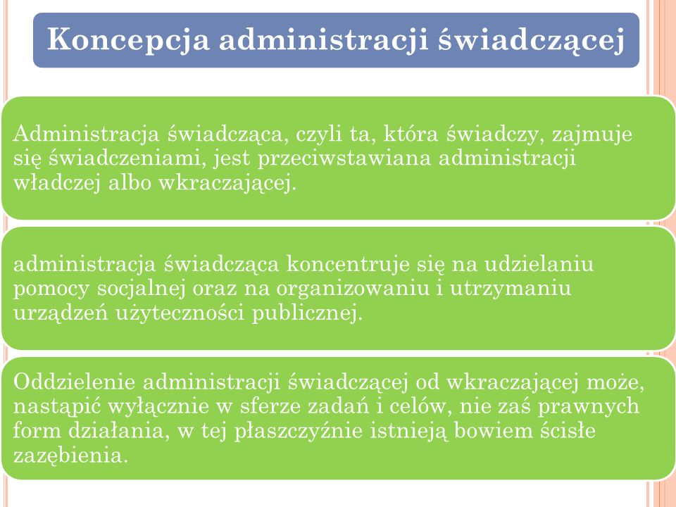 Koncepcja administracji świadczącej Administracja świadcząca, czyli ta, która świadczy, zajmuje się świadczeniami, jest przeciwstawiana administracji