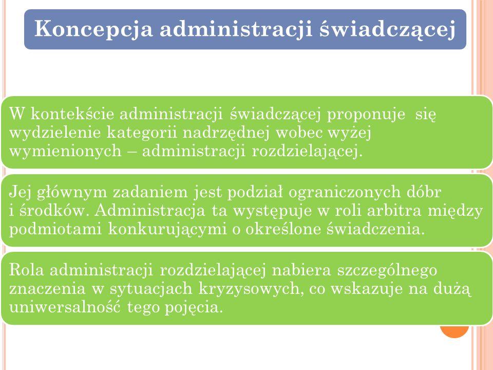 Koncepcja administracji świadczącej W kontekście administracji świadczącej proponuje się wydzielenie kategorii nadrzędnej wobec wyżej wymienionych – a