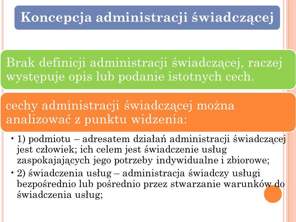 Koncepcja administracji świadczącej Brak definicji administracji świadczącej, raczej występuje opis lub podanie istotnych cech. cechy administracji św