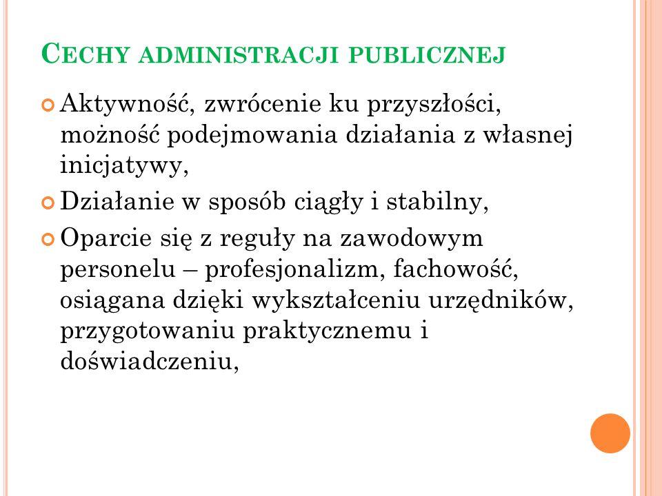 Koncepcja administracji świadczącej cechy administracji świadczącej można analizować z punktu widzenia: 6) formalnoprawnej ochrony praw jednostki wobec administracji – kontrola administracji świadczącej, zwłaszcza sądowe badanie aktów administracyjnych mających związek z prawami konstytucyjnymi; 7) konkurencyjności między podmiotami świadczącymi usługi – część zadań powierzana jest do realizacji podmiotom niepublicznym; 8) rywalizacji w dostępie do usług – wysoki popyt na usługi powoduje ich deficyt i zmusza administrację do ich rozdzielania i limitowania; 9) formy organizacyjno-prawnej wykonywania usług – zakład administracyjny i przedsiębiorstwo;