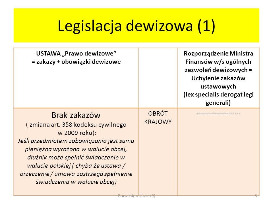 Legislacja dewizowa (1) USTAWA Prawo dewizowe = zakazy + obowiązki dewizowe Rozporządzenie Ministra Finansów w/s ogólnych zezwoleń dewizowych = Uchyle
