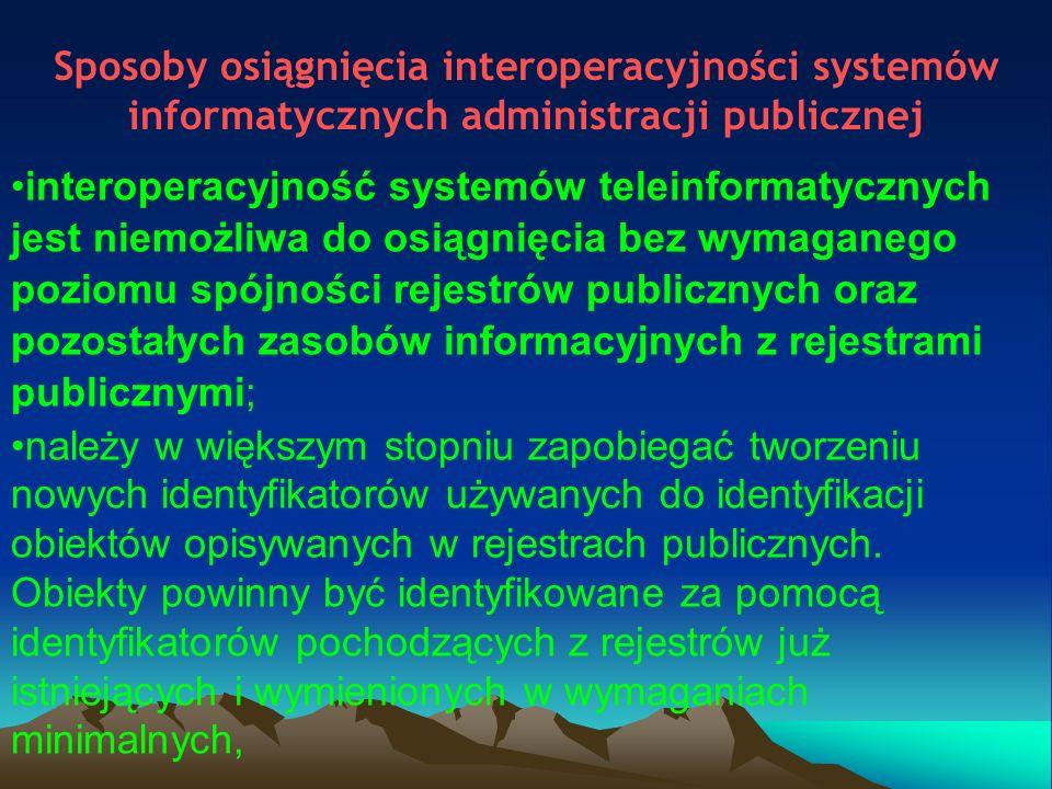 Ustawowe wyjaśnienie pojęć interoperacyjność – zdolność różnych podmiotów oraz używanych przez nie systemów teleinformatycznych i rejestrów publicznych do współdziałania na rzecz osiągnięcia wzajemnie korzystnych i uzgodnionych systemów teleinformatycznych i rejestrów publicznych, neutralność technologiczna – zasada równego traktowania przez władze publiczne technologii teleinformatycznych i tworzenia warunków do ich uczciwej konkurencji, w tym zapobiegania możliwości eliminacji technologii konkurencyjnych przy rozbudowie i modyfikacji eksploatowanych systemów teleinformatycznych lub przy tworzeniu konkurencyjnych produktów i rozwiązań; Krajowe Ramy Interoperacyjności – zestaw wymagań semantycznych, organizacyjnych oraz technologicznych dotyczących interoperacyjności systemów teleinformatycznych i rejestrów publicznych.