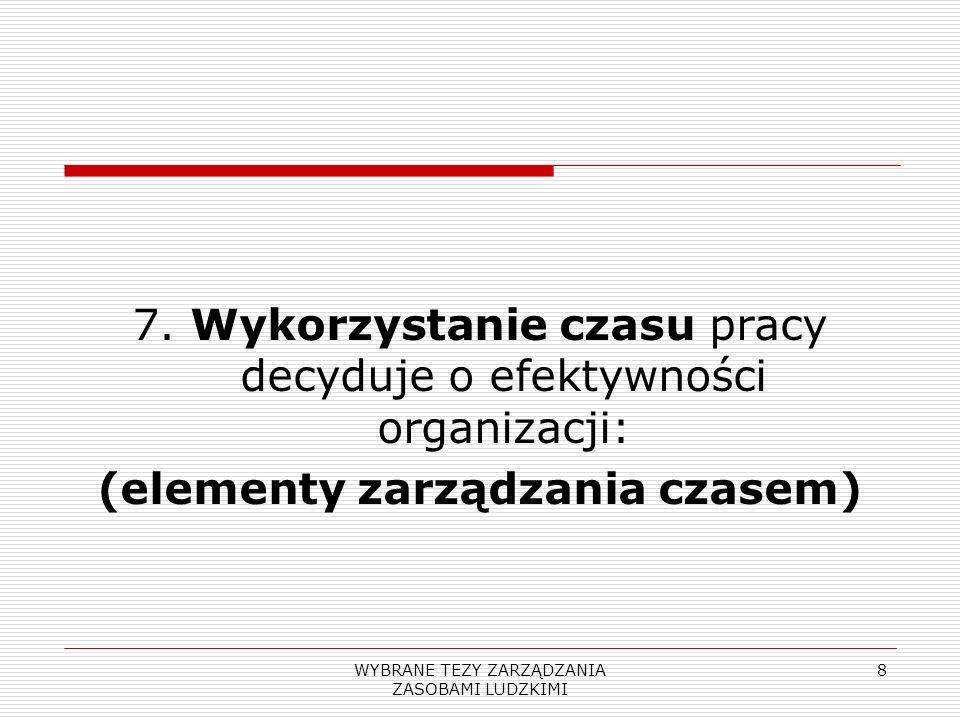 WYBRANE TEZY ZARZĄDZANIA ZASOBAMI LUDZKIMI 8 7. Wykorzystanie czasu pracy decyduje o efektywności organizacji: (elementy zarządzania czasem)